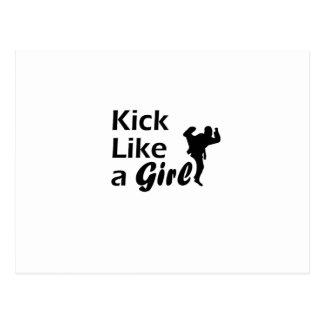 Kick Like a Girl Karate Tae Kwon Do Martial Arts Postcard