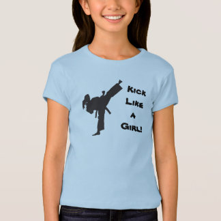 Kick Like a Girl Martial Arts Tae Kwon Do Ponytail T-Shirt
