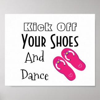 Kick Off You Shoes Flip Flops Wedding Script Sign Poster