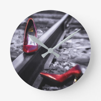 Kick Off Your Shoes red shoes on railroad tracks Round Clock