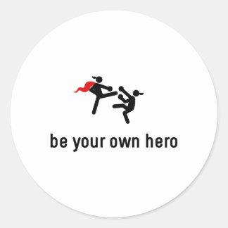 Kickboxing Hero Classic Round Sticker