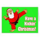 Kickin Santa Black Belt Christmas Cards