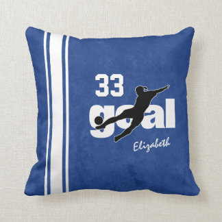 kicking for goal personalized women's soccer throw pillow