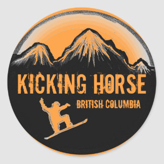 Kicking Horse BC Canada orange snowboard stickers