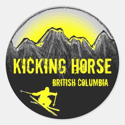 Kicking Horse British Columbia yellow ski stickers