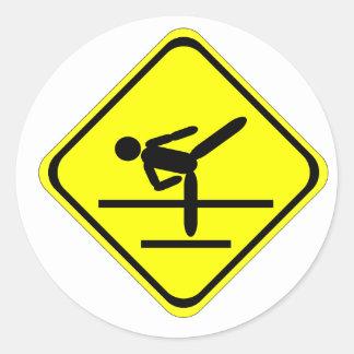 kicking sign classic round sticker