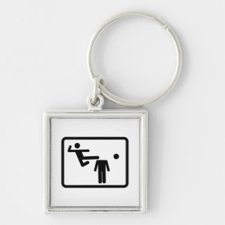 Kicking The Head Off The Neck Silver-Colored Square Keychain