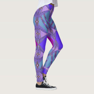 Kicky Fun Fashion Leggings-Blue/Cranberry/Purple Leggings