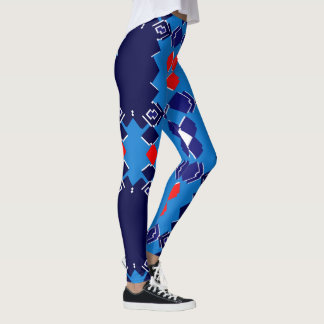 Kicky Fun Fashion Leggings --Red/White/Blue