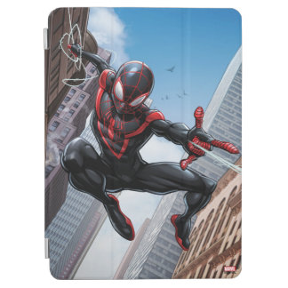 Kid Arachnid Web Slinging Through City iPad Air Cover