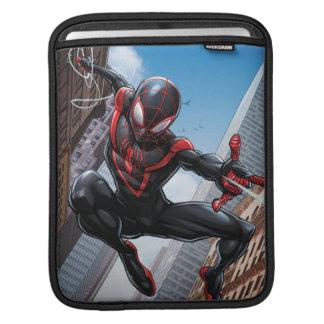 Kid Arachnid Web Slinging Through City iPad Sleeve