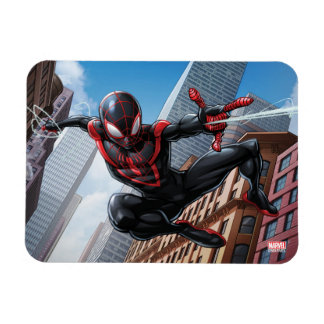 Kid Arachnid Web Slinging Through City Magnet
