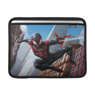 Kid Arachnid Web Slinging Through City Sleeve For MacBook Air