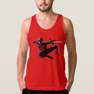 Kid Arachnid Web Slinging Through City Tank Top