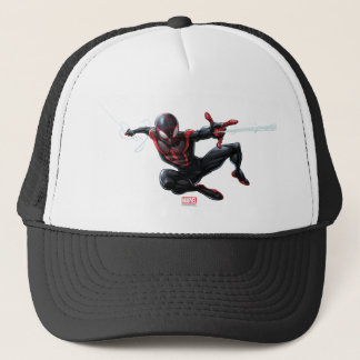 Kid Arachnid Web Slinging Through City Trucker Hat