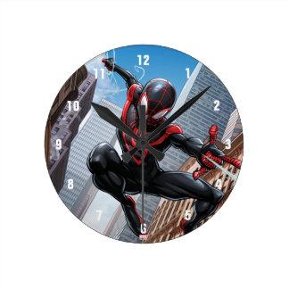 Kid Arachnid Web Slinging Through City Wall Clock