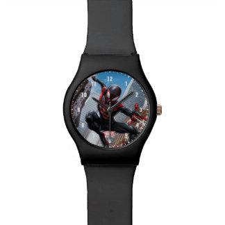 Kid Arachnid Web Slinging Through City Wrist Watch