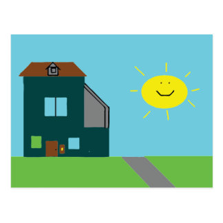 Kid Art - House Sky & Sunshine Postcard