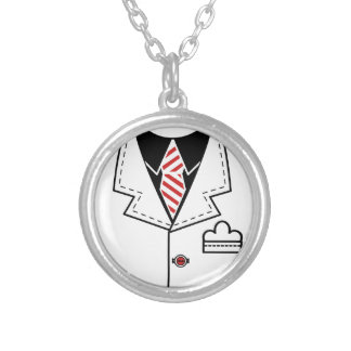 Kid cool tie design silver plated necklace