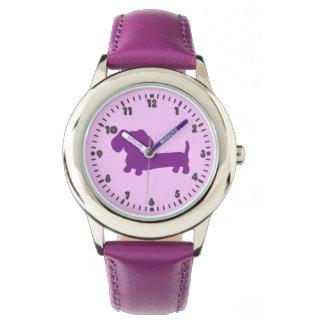Kid Girls Purple Dachshund Learning Time Watch