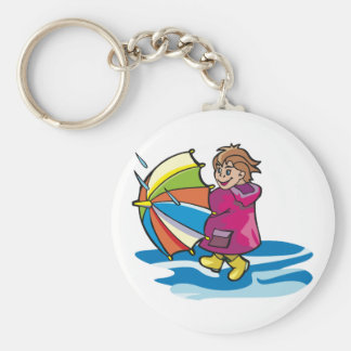 Kid In The Rain Keychain