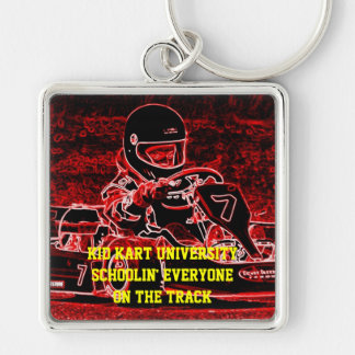 Kid Kart University Silver-Colored Square Keychain