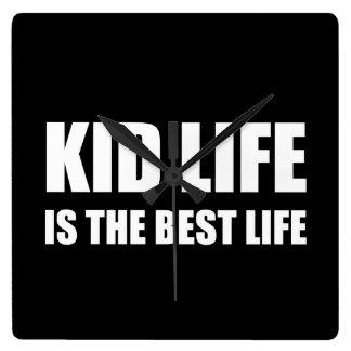 Kid Life Best Life Square Wall Clock