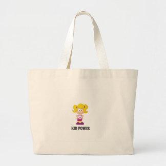 kid power yeah large tote bag