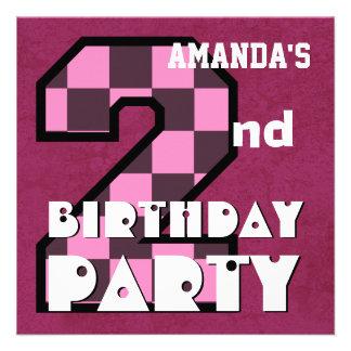 Kid s 2nd Birthday Pink CHECKS Custom Name V02 Custom Invite