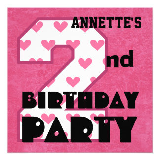 Kid s 2nd Birthday Pink HEARTS Custom Name V05 Announcement