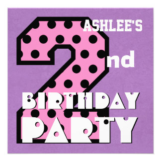 Kid s 2nd Birthday Pink POLKA DOTS Custom Name V03 Invite