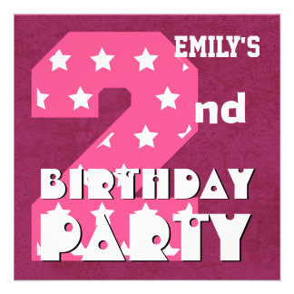 Kid s 2nd Birthday Pink STARS Custom Name V01 Personalized Announcement