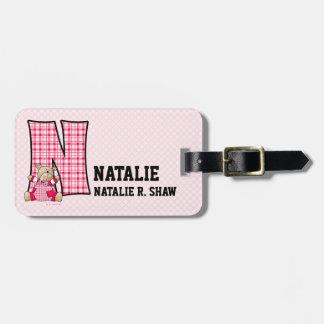 Kid s Pink Gingham Monogram N Luggage Tags