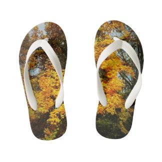 Kid Slippers - Fall trees Kid's Flip Flops