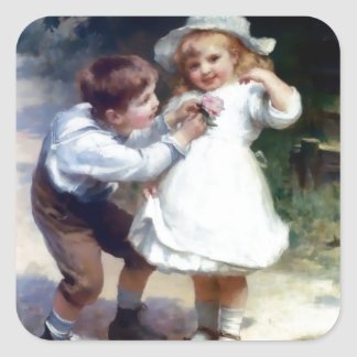 Kid Sweethearts painting Square Sticker