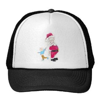 Kid tugging on Santa's Beard Trucker Hat