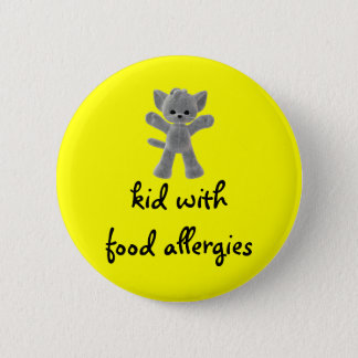 Kid with food allergies 2 inch round button
