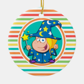 Kid Wizard on Bright Rainbow Stripes Double-Sided Ceramic Round Christmas Ornament