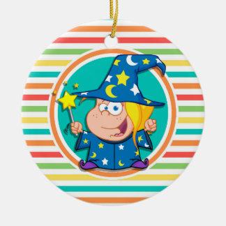 Kid Wizard on Bright Rainbow Stripes Ornament