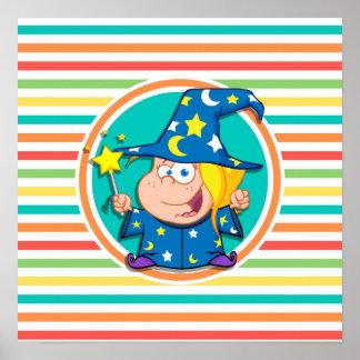 Kid Wizard on Bright Rainbow Stripes Print
