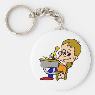 Kid Writing At Desk Basic Round Button Keychain
