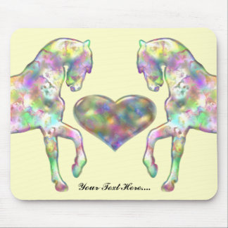 Kiddies Horse and Love Heart Mouse Pad