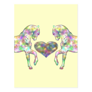 Kiddies Horse and Love Heart Postcard