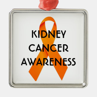 Kidney Cancer Awareness Ribbon Silver-Colored Square Ornament