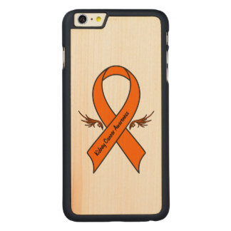 Kidney Cancer Awareness Ribbon with Wings Carved Maple iPhone 6 Plus Case