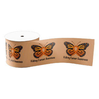 "Kidney Cancer Butterfly of Hope 3.0"" Grosgrain Ribbon"