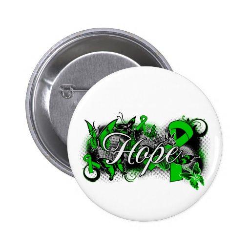 Kidney Cancer Hope Garden Ribbon Pinback Buttons