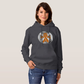 Kidney Cancer Iron Cross Ladies Hoodie