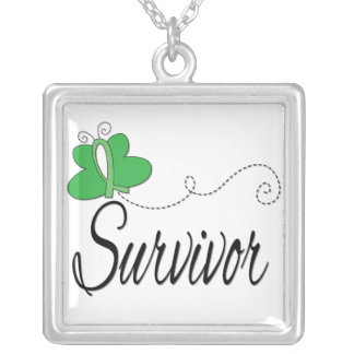 Kidney Cancer Survivor Butterfly Ribbon Square Pendant Necklace