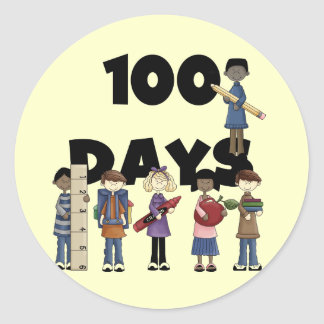 Kids 100 Days of School T-shirts and Gifts Round Sticker